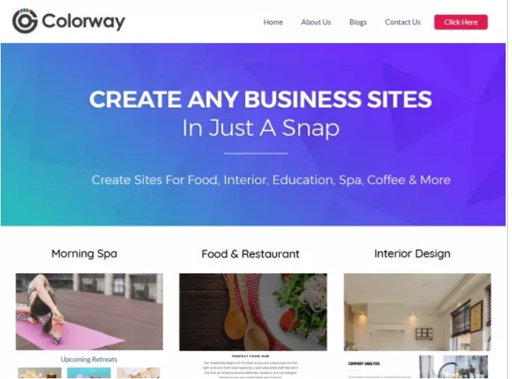 Colorway theme for blog business