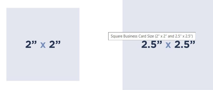 Square shape business card
